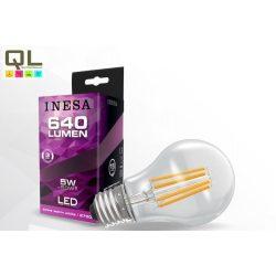 INESA LED 5W körte alakú Filament E27 640lm meleg fehér 2700K 60616