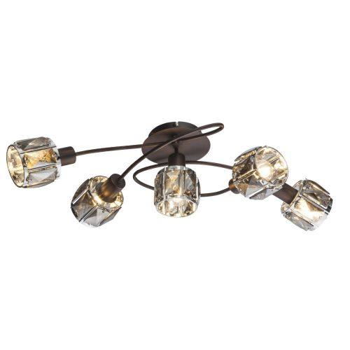 GLOBO spot lámpa GLOBO INDIANA fali szpot 5x40W E14 bonz-füst színű bura 54357-5